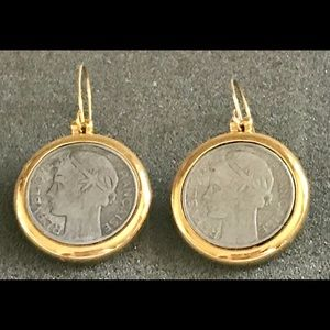 Jewelry - Vintage, 1943 French Republic Coin Earrings
